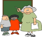 Teacher and Two Students by Chalk Board in a Classroom Clipart